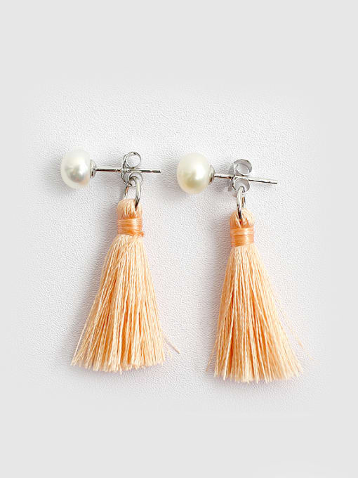 Arya Fashion Freshwater Pearl Chinlon Tassels Silver Stud Earrings