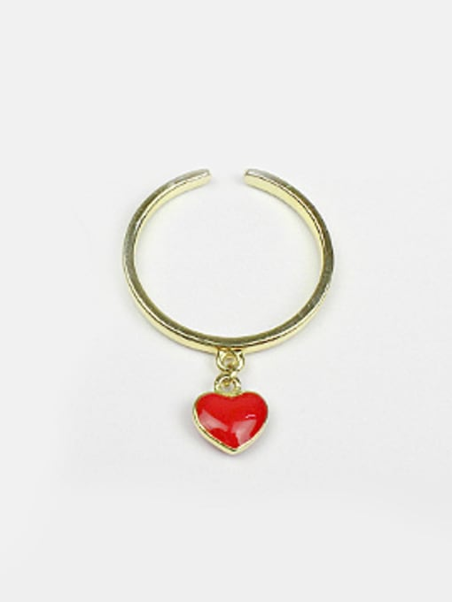 Arya Personalized Red Heart Silver Opening Ring