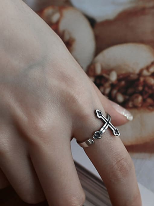 Arya Personalized Black Cross Silver Opening Ring
