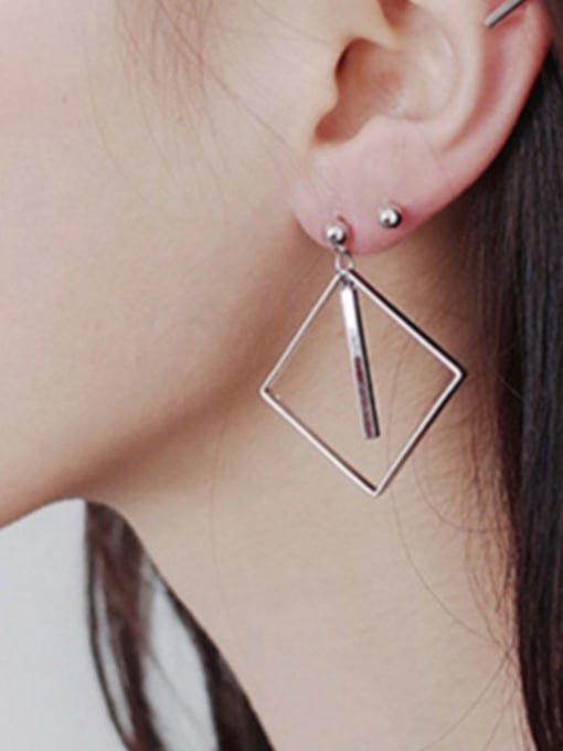 Arya Simple Hollow Square Slim Bar Silver Stud Earrings