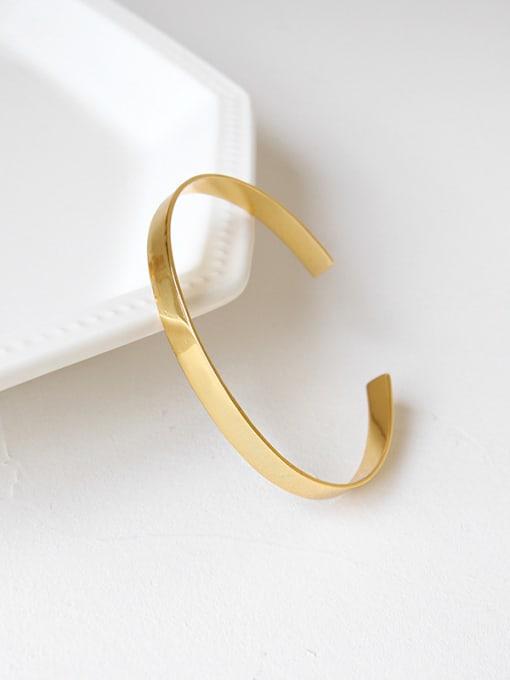 Dark Phoenix Sterling silver minimalist gold glossy open bracelet