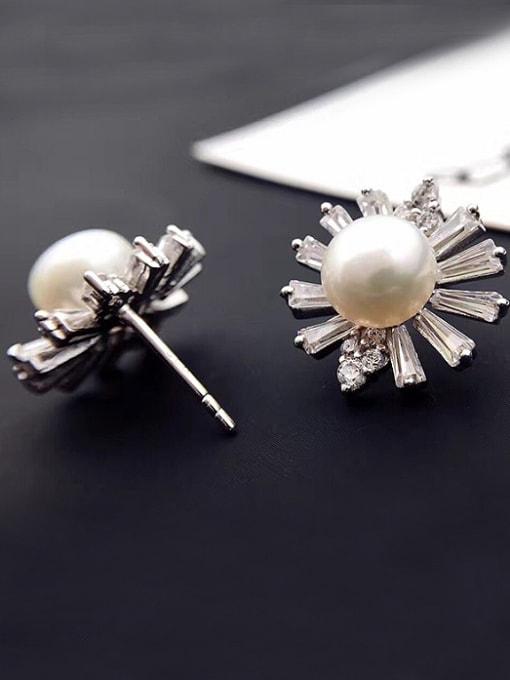 Evita Peroni Freshwater Pearl Chrysanthemum Flowery Stud Cluster earring