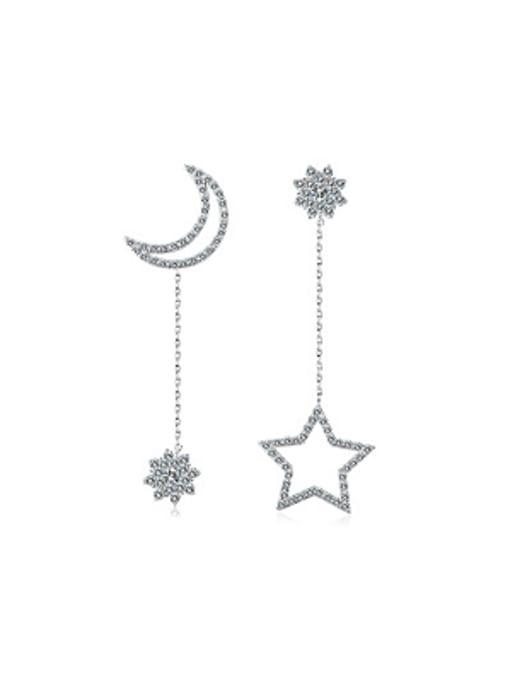 OUXI Asymmetrical Moon Star Zircon Drop Earrings