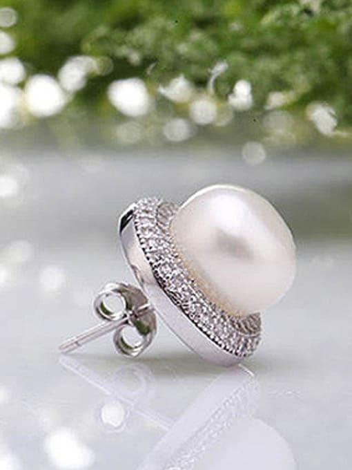 Evita Peroni Freshwater Pearl Zircon Round stud Earring