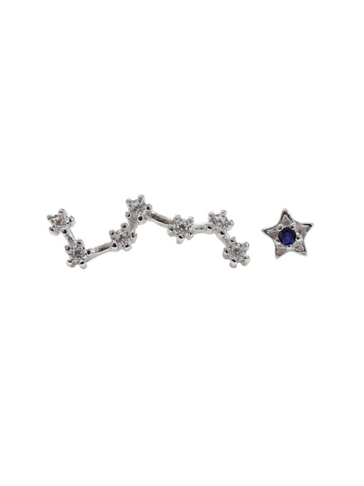 Arya Asymmetrical Stars Tiny Rhinestones Silver Stud Earrings