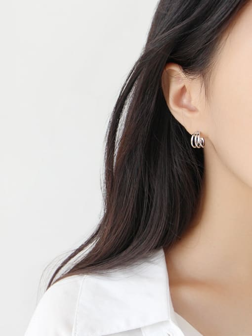 Ying 925 Sterling Silver With Platinum Plated Simplistic Multilayer line circle Stud Earrings