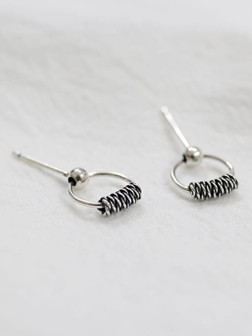 Arya Retro style Hollow Round Silver Stud Earrings