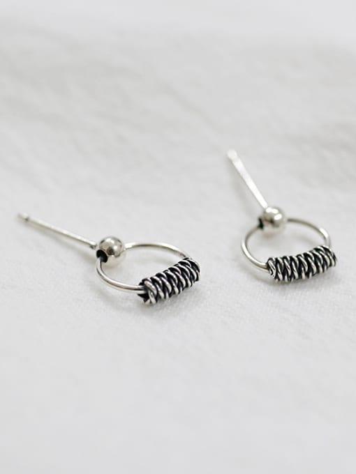 Arya Retro style Hollow Round Silver Stud Earrings