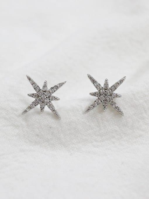 Arya Fashion Cubic Zircon-studded Star Silver Stud Earrings