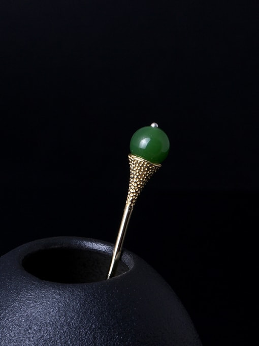 Christian Retro Gold Plated Green Stone Hair Pick