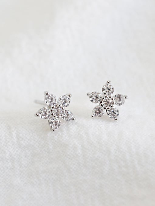 Arya Fashion Tiny Cubic Zircon Flowery Silver Stud Earrings