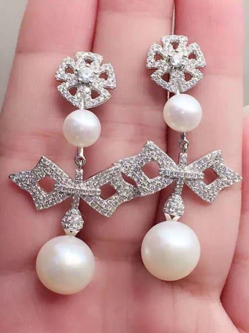 Evita Peroni Freshwater Pearl Zircon Geometrical Chandelier earring