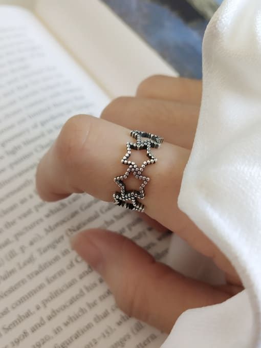 Jolie Silver 925 Sterling Silver With Antique Silver Plated Vintage Star Rings
