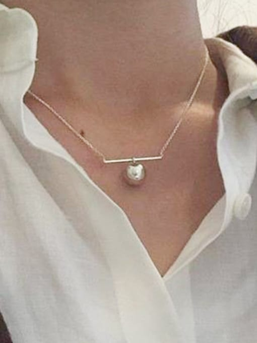 Arya Simple Smooth Bead Pendant Silver Women Necklace