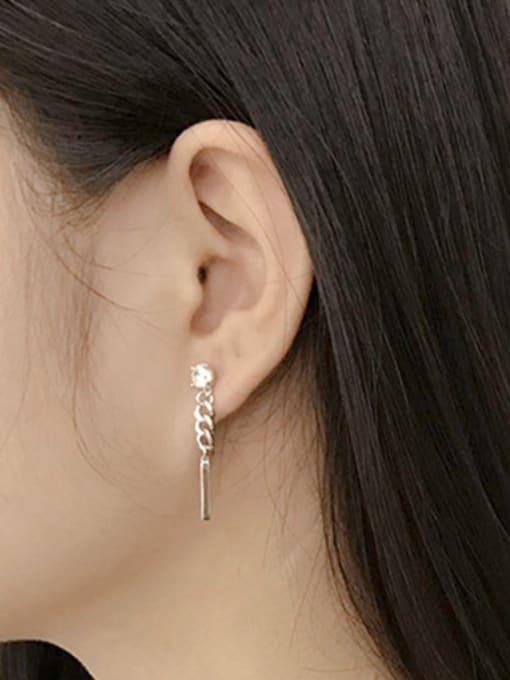 Arya Fashion Asymmetrical Red Tassels Silver Earrings