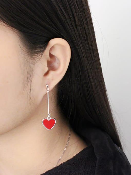 Arya Asymmetrical Red Heart Silver Stud Earrings