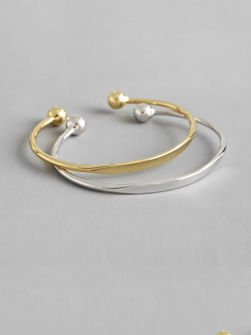 Dark Phoenix 925 Sterling Silver With Glossy Simplistic Round  Opening Bangles