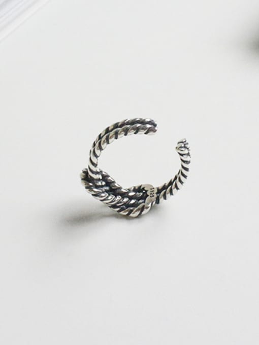 Arya Retro style Two-band Knot Antique Silver Plated Opening Ring