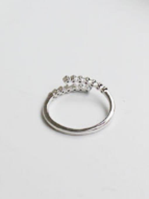 Arya Simple Tiny Cubic Zirconias Opening Silver Ring
