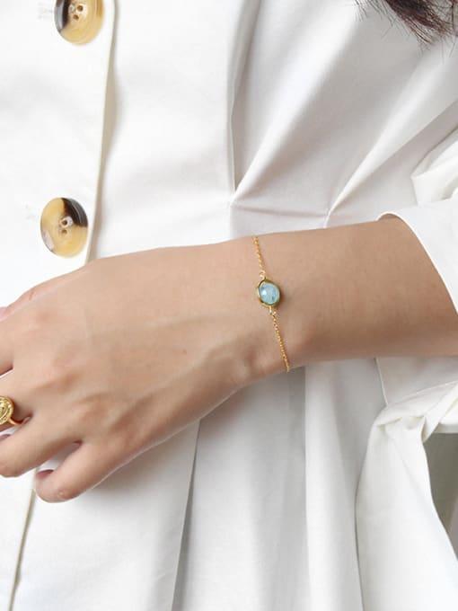 Arya S925 Pure Silver Moonstone sea blue jewel Thin Bracelet
