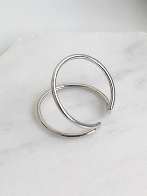 Arya Simple Two-band Smooth Silver Opening Ring