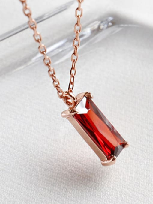 Arya Sterling silver simple red square zircon stud earrings and short necklace