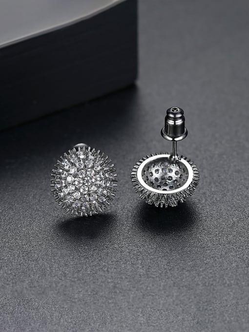 BLING SU Copper With Gun Plated Trendy Flower Cubic Zirconia Stud Earrings