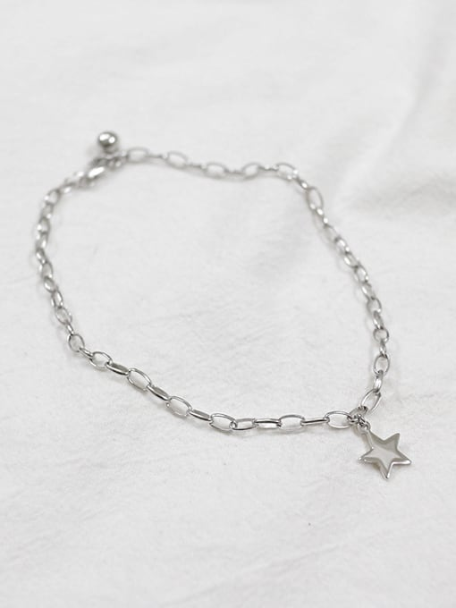 Arya Simple Little Star Silver Anklet