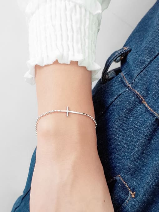 Arya 925 Sterling Silver With White Gold Plated Classic Cross Bracelets