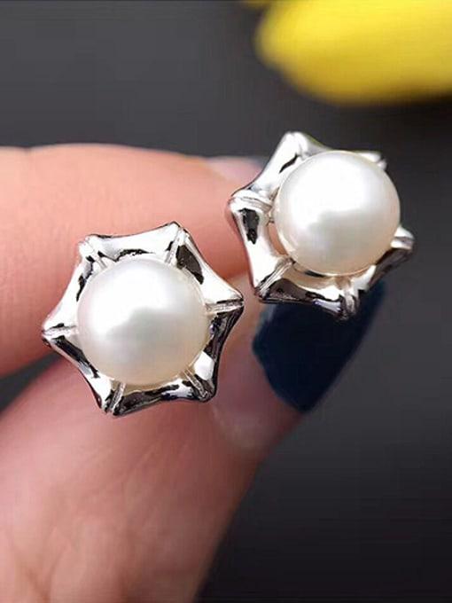 Evita Peroni Freshwater Pearl Star stud Earring