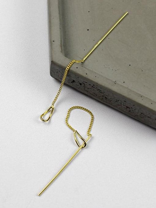 Arya Simple Slim Chain Silver Gold Plated Line Earrings