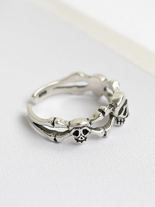 Arya Personalized Little Skulls Silver Opening Ring