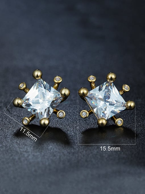 Armadani Simple Square Zircon Gold Plated Stud Earrings