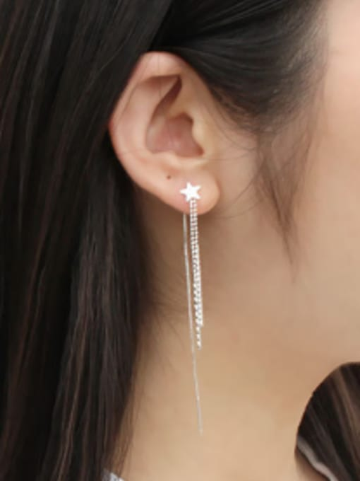 Arya Fashion Little Star Tassels Silver Line Earrings