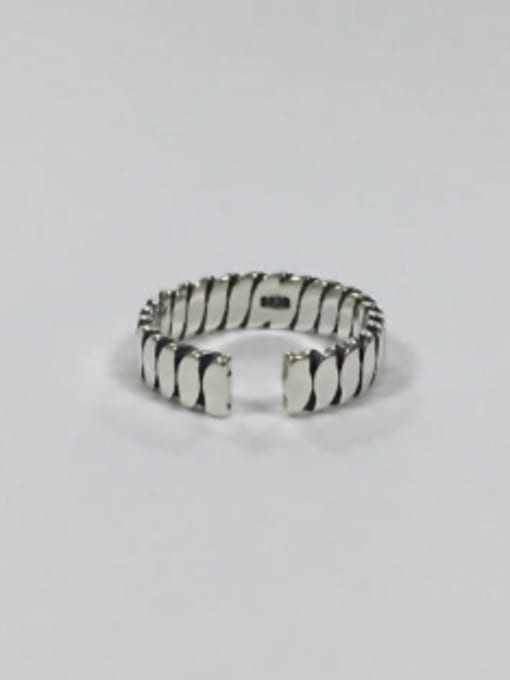 Arya Simple Antique Silver Plated Silver Opening Ring