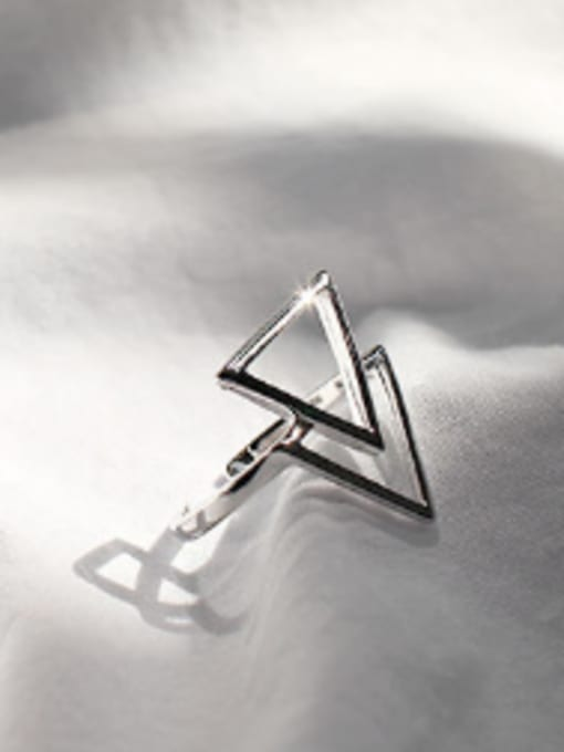 Arya Simple Double Hollow Triangle Silver Opening Ring