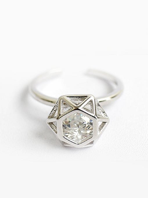 Arya Exaggerated Diamond-shaped Silver Opening Ring