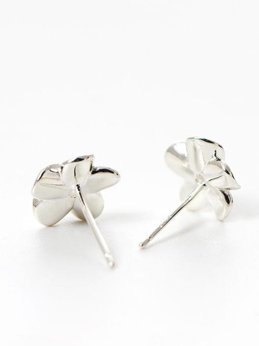 Christian Tiny 925 Silver Flower Cubic Zircon Stud Earrings
