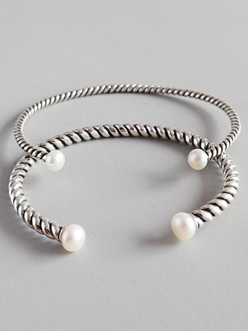 Dark Phoenix Pure Silver Designer freshwater pearl twist bracelet