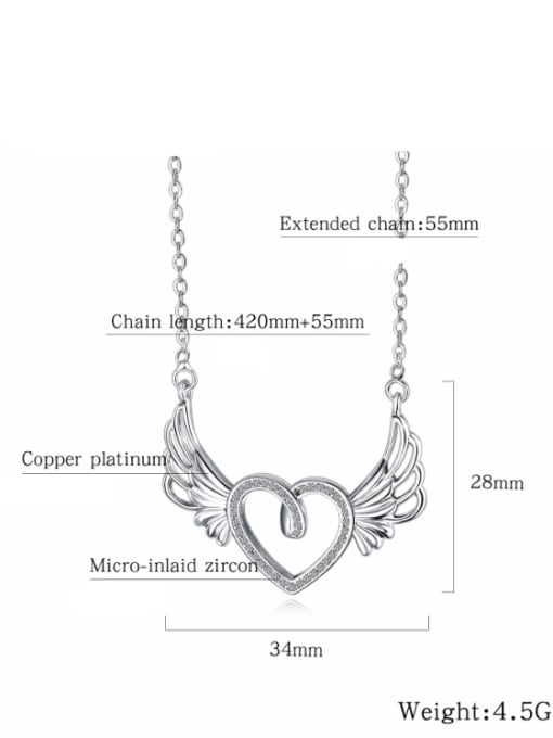 Tong Copper With White Gold Plated Fashion Heart with wing Necklaces