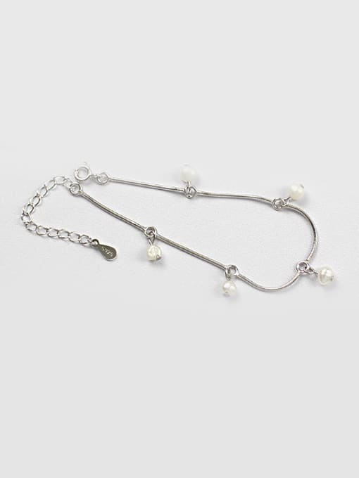 Arya Simple White Artificial Pearls Silver Bracelet