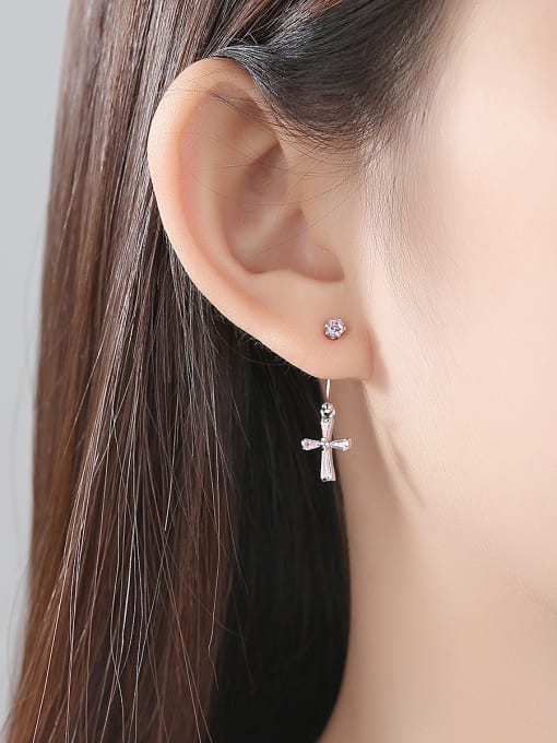 BLING SU Copper With Platinum Plated Trendy Cross Stud Earrings