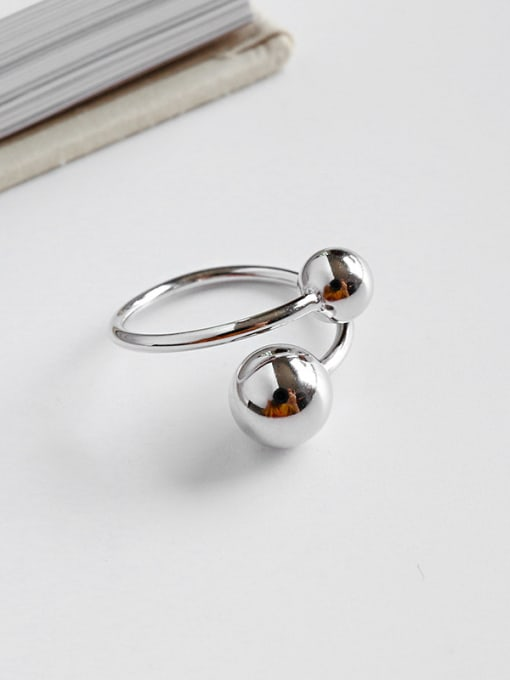 Ying 925 Sterling Silver With Simplistic Size round ball Free Size Rings