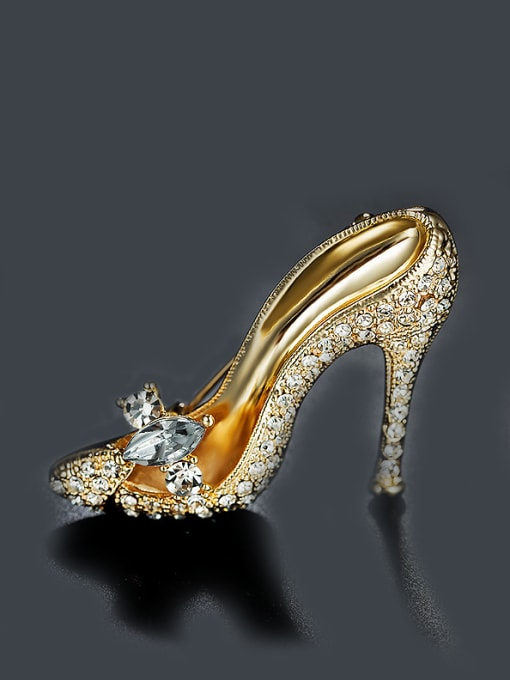 Chris Gold Plated High-heeled Shoes Brooch