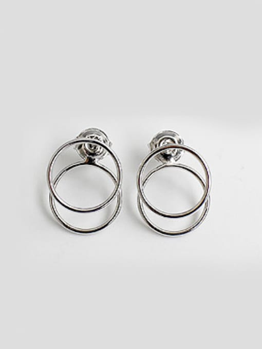 Arya Simple Double Hollow Round Silver Stud Earrings