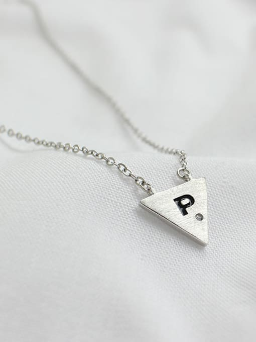 Arya Simple Triangle Letter P Pendant Silver Necklace
