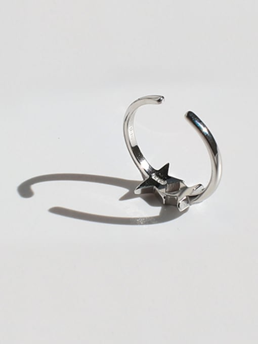 Arya Fashion Double Star Smooth Silver Opening Ring
