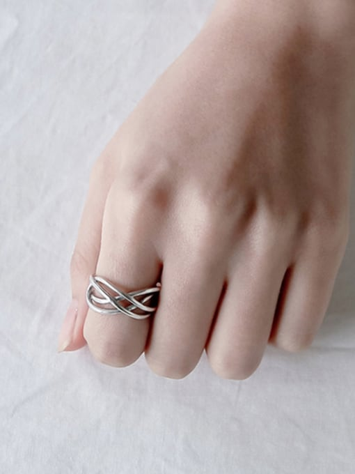 Ying 925 Sterling Silver With Antique Silver Plated Vintage hollow weaving Free Size Rings