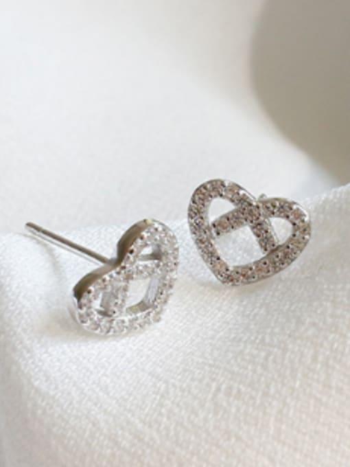 Arya Fashion Hollow Heart Cubic Zirconias Silver Stud Earrings