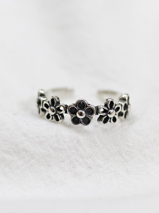 Arya Retro style Black Flowers Silver Opening Ring